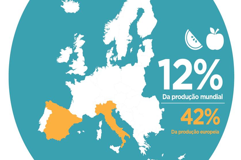 Europa detém 12% da produção mundial de fruta e hortícolas.